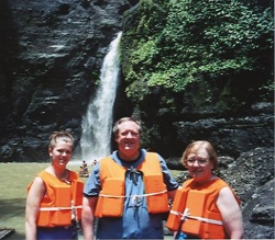 Jane, Bob and Dorice Elliott at Pagsanjan Falls, summer 2004.