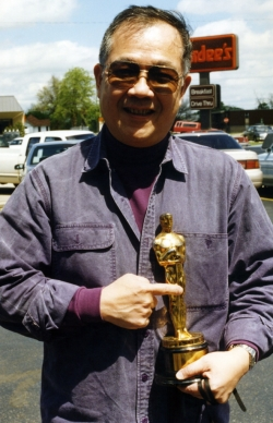 Paul with William Inge's Oscar in Independence, KS, early 1990s.