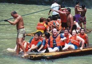 The Elliotts with boatmen at Pagsanjan Falls, summer 2004.