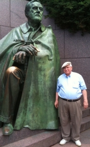 Grant Goodman with FDR at FDR Memorial in Washington DC, July 3, 2009.