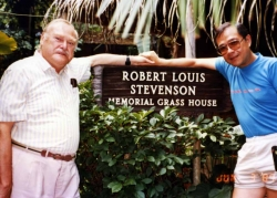 John Roderick and Paul at Stevenson's Memorial Grass House in Hawaii, 1985.