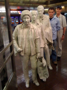 John Volk with George Segal sculptures at Port Authority in NYC, 2008.