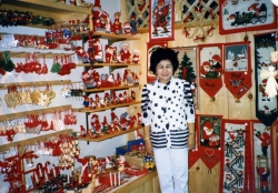 Mom in gift shop in Lindsborg, KS, early 1990s.