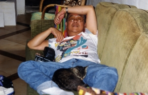 Paul in Lurs with one of the cats, mid-1990s.