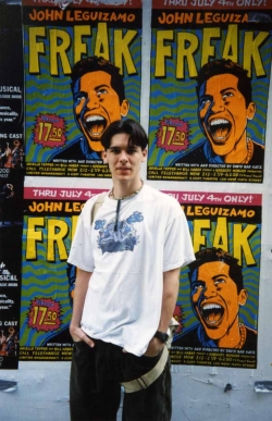 Michael Senften with street posters in New York, 2000.