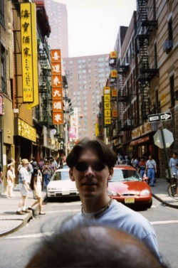 Michael Senften in Chinatown in New York, 2000.