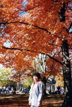 Mom at Maple Leaf Festival in Baldwin, KS, mid-1980s.