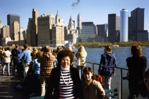 Mom and Debbie with New York skyline, early 1980s.