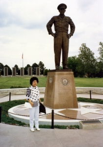 Mom with statue of Ike in Abilene, KS, mid-1980s.