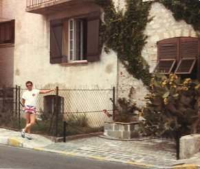 Paul outside apartment in Cap d'Antibes, June 1981.