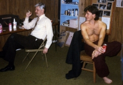 Josh Waters and Scott Crouse in the dressing room.