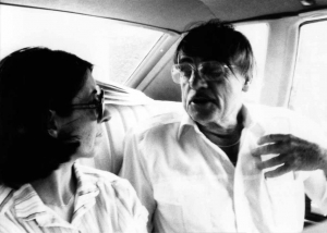 Director Mary Doveton and Sam Anderson on car trip to Coffeeville, KS, 1980.