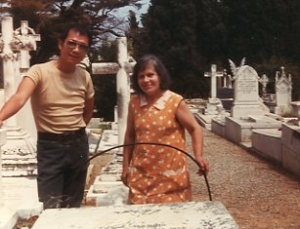 Paul with cemetery custodian in Nice, mid-1980s.