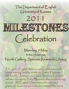 KU English Department program for Paul's retirement, 9 May 2011.