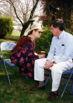 Carolyn Doty and David Bergeron at one of Paul's garden parties.