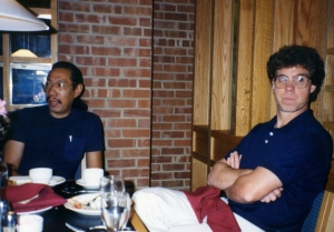 Asian-American writer Frank Chin and Tom Lorenz at the Kansas Union, 1991.
