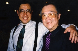 Asian-American author Gus Lee in Lawrence, with Paul, late 1990s.