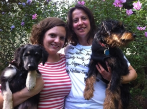 The Two Marys with Happy Puppies.