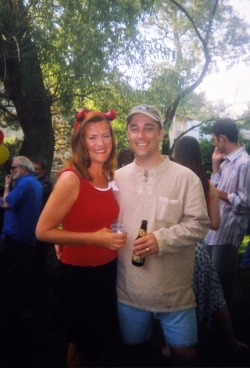 Jan Chapman and husband Dan Belden at one of Paul's garden parties.