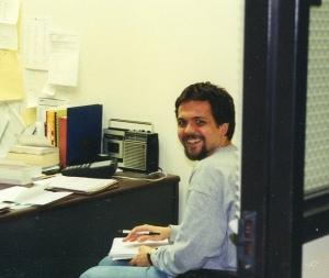 Kirby Fields in Wescoe Hall basement office, 2003.