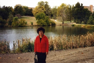 Mom at Potter Lake on the KU campus, mid-1980s.