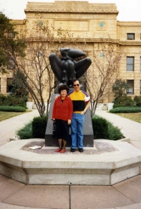 Mom in front of Strong Hall on the KU campus, mid-1980s
