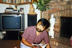 Ray Salvosa in family room of Randall Rd. house, early 1990s.