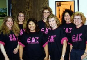 KU English Department secretaries wearing EAT t-shirts, early 1990s.