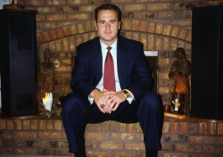 David Scott in family room of Randall Rd. house, mid-1990s.