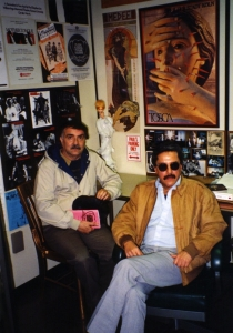 Costa-Rican playwright Daniel Gallegos and David Vargas in Paul's office, 1989.