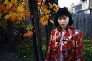 Debbie in backyard of Randall Rd. house, mid-1980s.
