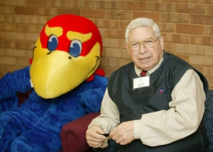 Grant Goodman at Kansas Union with Jayhawk, 2007.