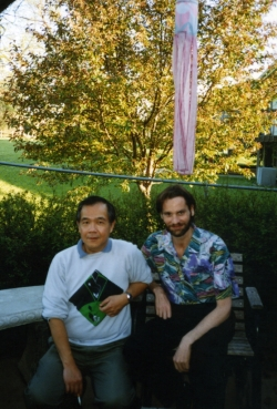 Paul with Jim Erdahl in backyard of Randall Rd. house, 1989.