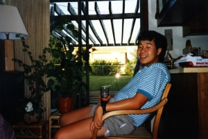 Jun Gonzales in family room of Randall Rd. house, early 1990s.