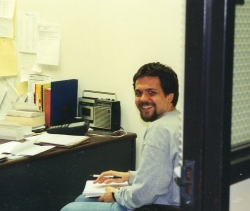 Kirby Fields in Wescoe Hall basement office, 2003.