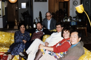 The Landes entertain the Pattons and Paul in their home, mid-1980s.