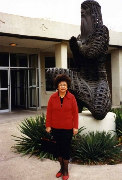 Mom with Moses on the KU campus, mid-1980s.