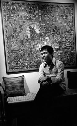 Paul by batik in living room on Pamela Lane, mid-1970s.