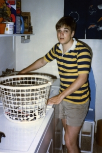 Don in laundry room in basement.