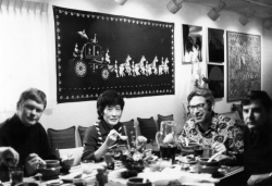 Grant's dinner party for Felix and Fusa Moos, mid-1970s.