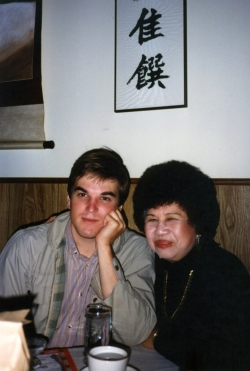 Don with Mom in Chinese restaurant in Lawrence, mid-1980s.