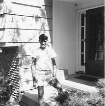 Tony Cius by front door at 1108 Avalon Rd., 1970.