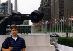 Doyle Haverfield at Rockefeller Plaza in NYC, summer of 1990.
