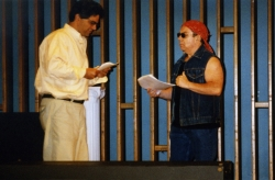 Byron Caminero-Santangelo and Bud Hirsch in the EAT staged reading of Parodies Lost, 1999.