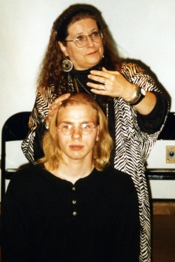 Mike Murphy and Carolyn Doty in the EAT staged reading of The Tragedy of Mariam, 1996.