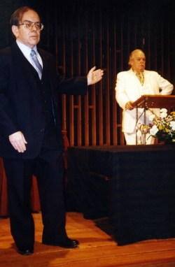 Bud Hirsch and Charles Whitman in the EAT staged reading of Gross Indecency, 1998.