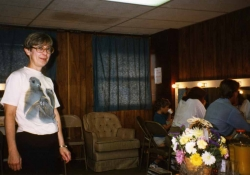 Barb Downing (props) in the dressing room, 1989.
