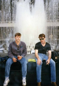 Doyle Haverfield and Mark Knapp at Lincoln Center in NYC, summer of 1990.