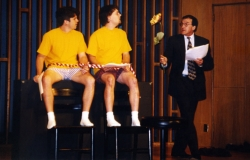 Bill Carpenter, Will Averill and Jim Hartman in the EAT staged reading of Parodies Lost, 1999.