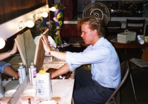 Kevin Stewart (Master Harold) in the dressing room, 1989.